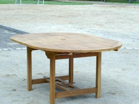 Teak table 120 - 180 x 120 with double flaps