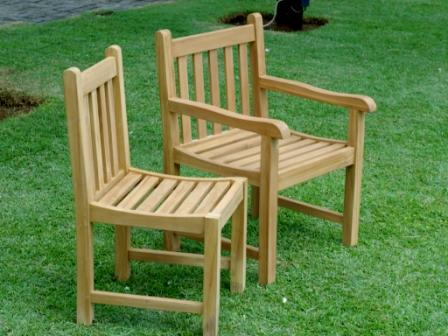Teak Java arm / no arm chair