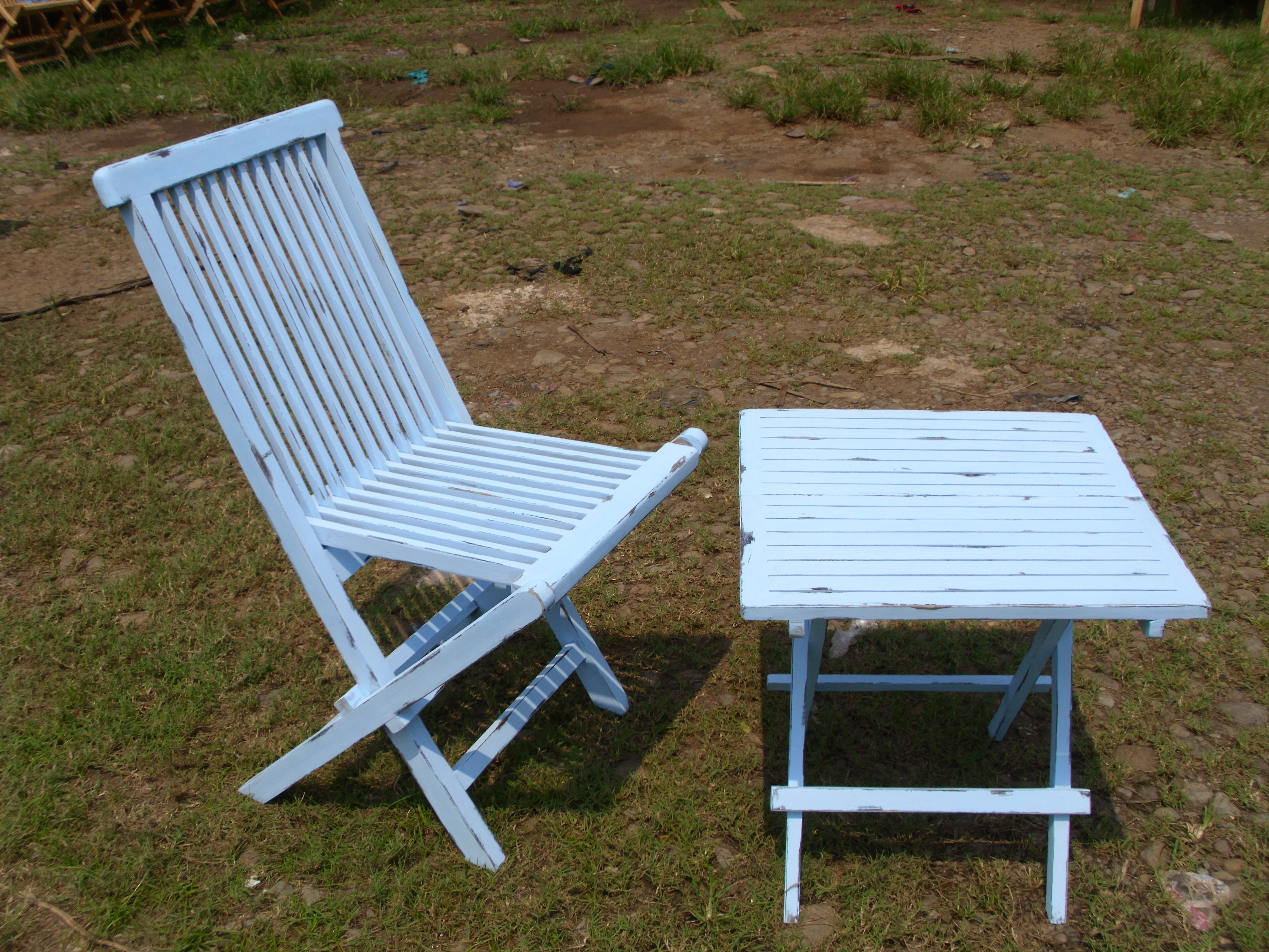 Teak Folding chair blue washed set